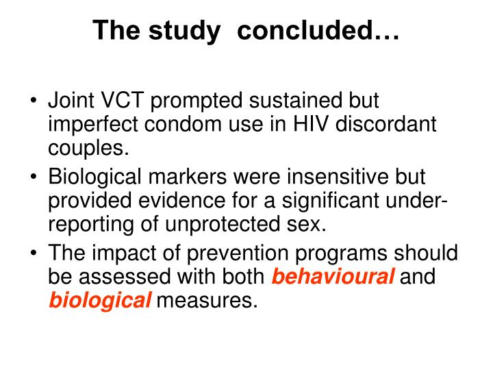 The study  concluded…