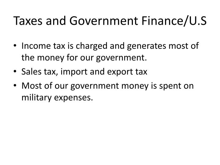 Taxes and Government Finance/U.S