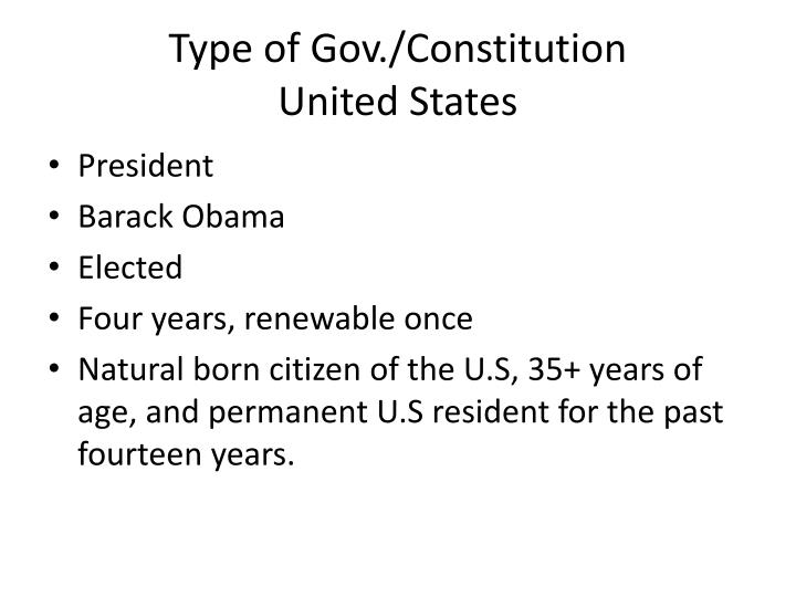Type of gov constitution united states