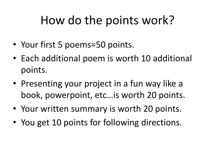 How do the points work?