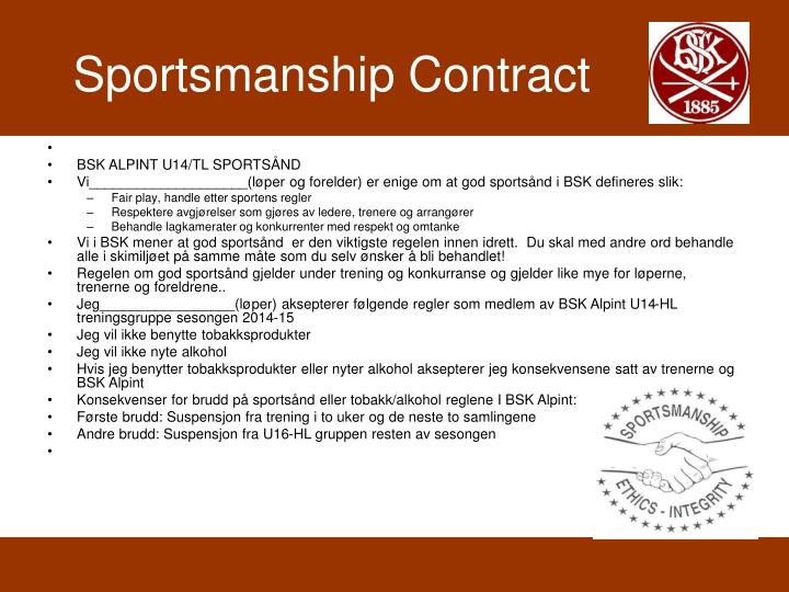 Sportsmanship Contract