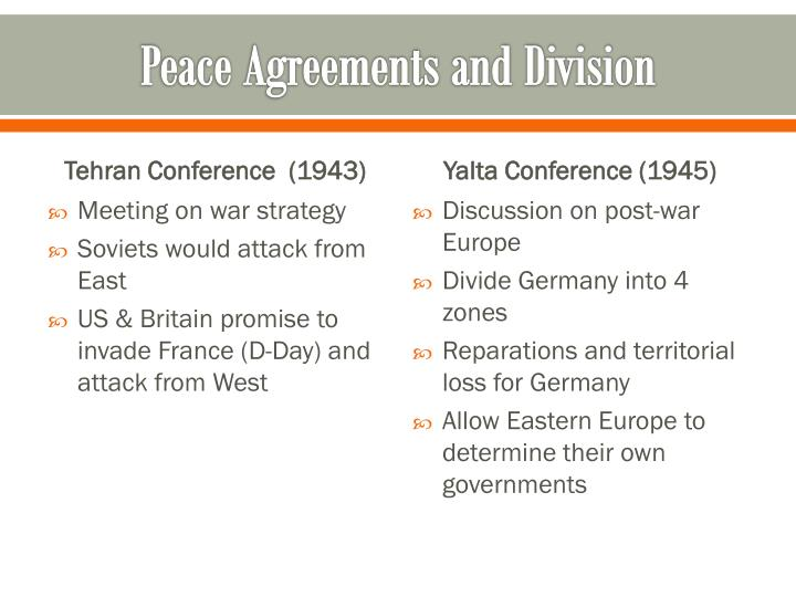 Peace Agreements and Division