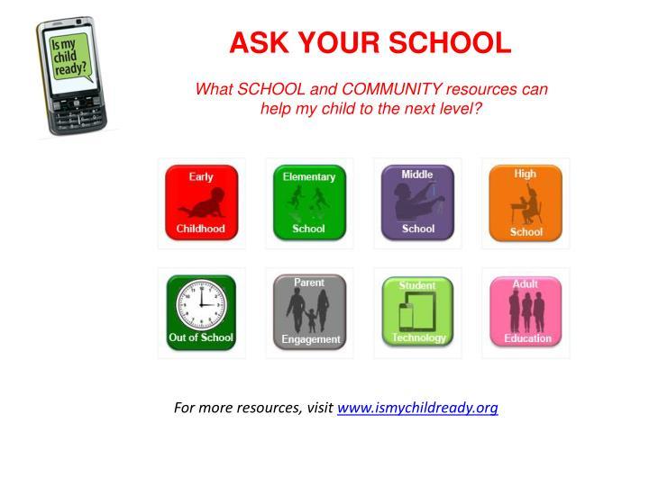 ASK YOUR SCHOOL