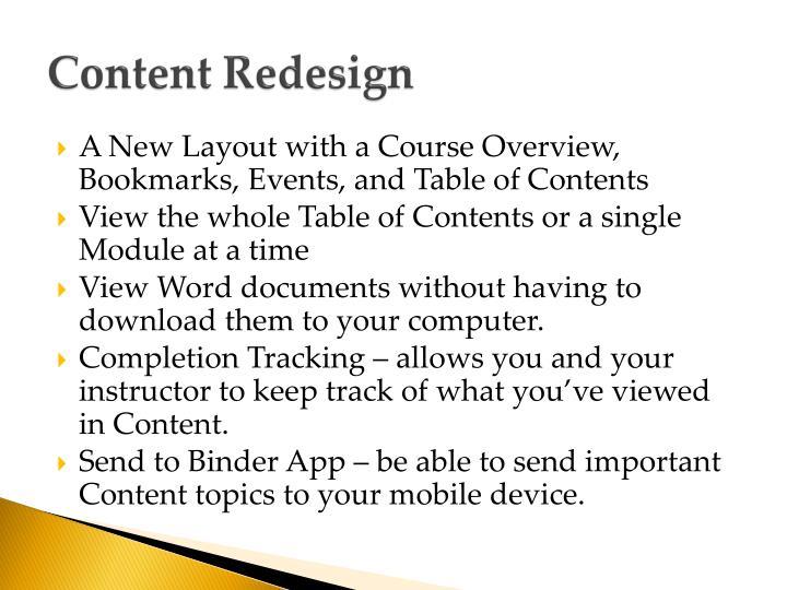 Content Redesign