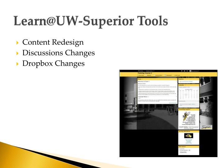 Learn@uw superior tools