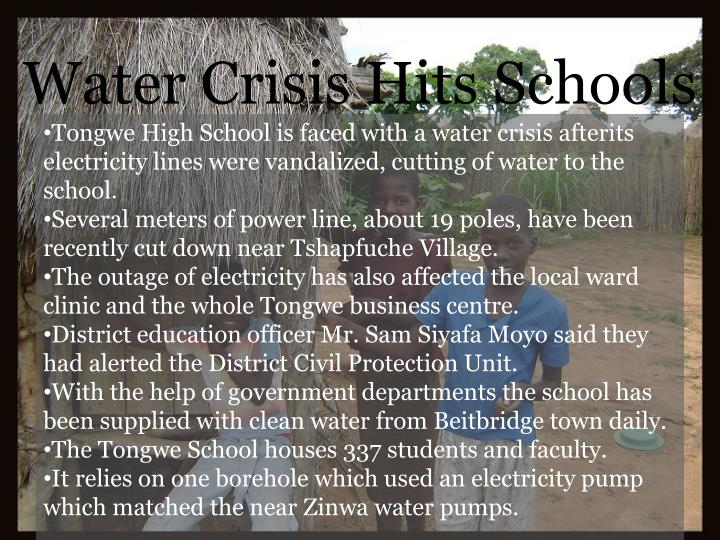 Water Crisis Hits Schools