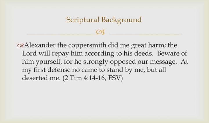 Scriptural Background