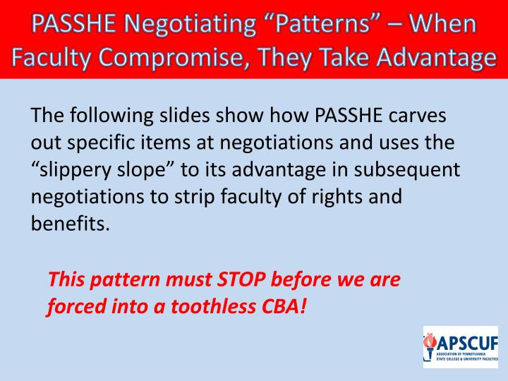 "PASSHE Negotiating ""Patterns"" – When Faculty Compromise, They Take Advantage"