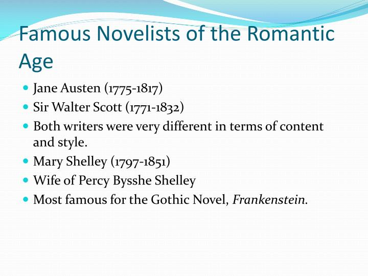 Famous Novelists of the Romantic Age