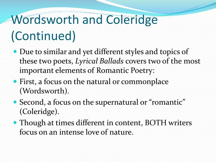 Wordsworth and Coleridge (Continued)
