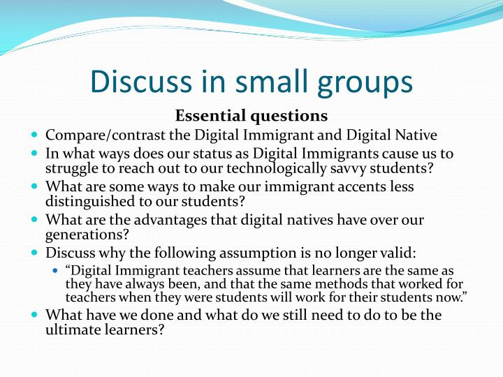 Discuss in small groups