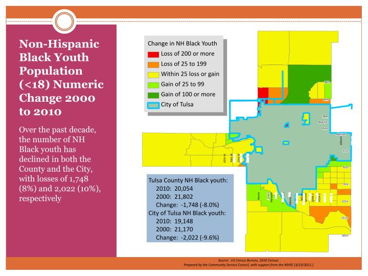 Non-Hispanic Black Youth Population (<18) Numeric Change 2000 to 2010