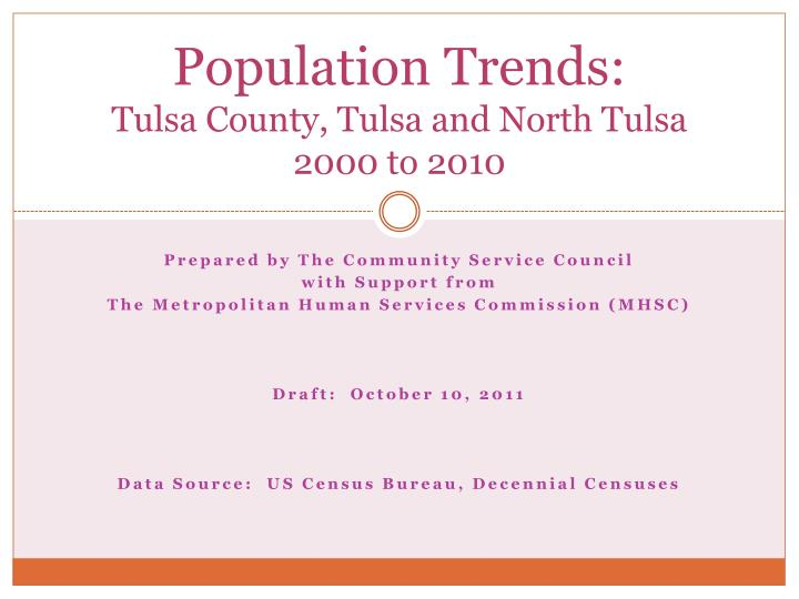 Population trends tulsa county tulsa and north tulsa 2000 to 2010