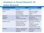 academic or formal r esearch vs action r esearch