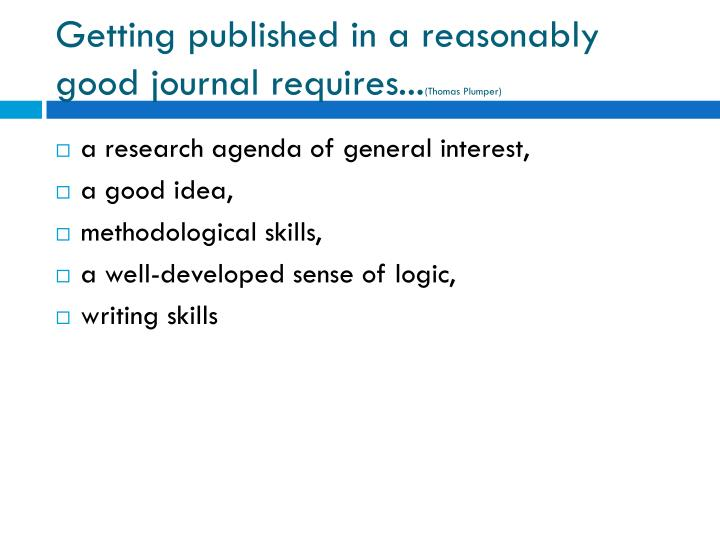 Getting published in a reasonably good journal requires...