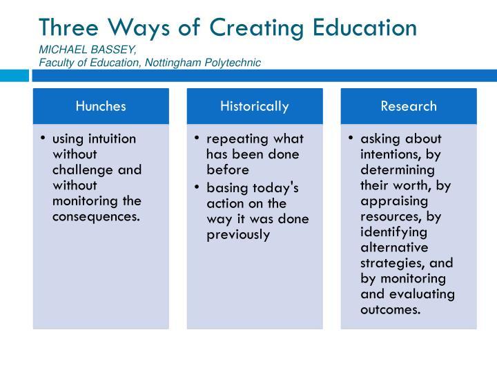 Three Ways of Creating Education