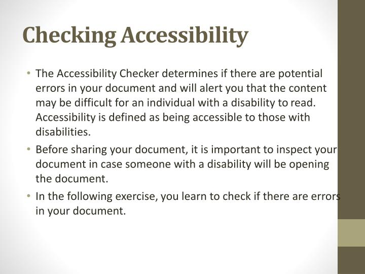 Checking Accessibility