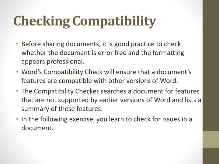 Checking Compatibility