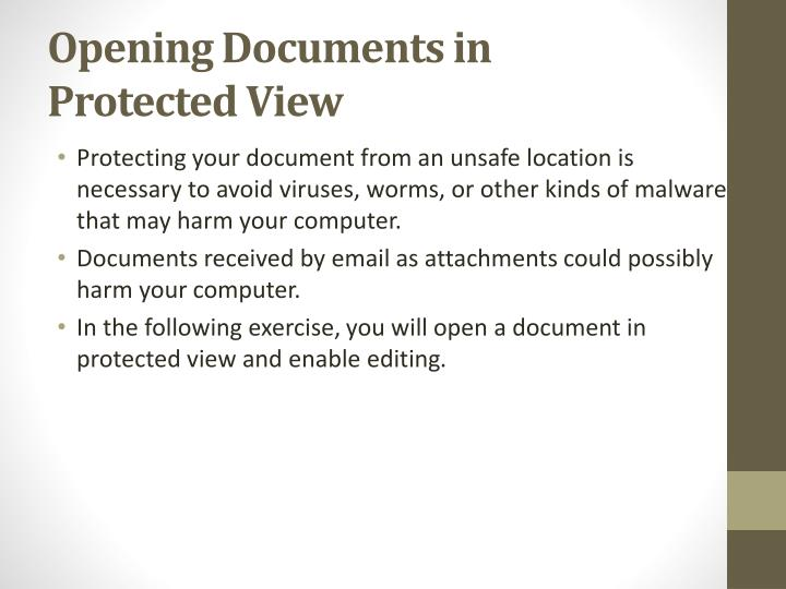 Opening Documents in Protected View