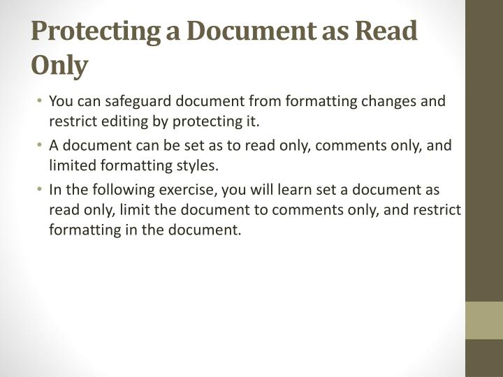 Protecting a Document as Read Only