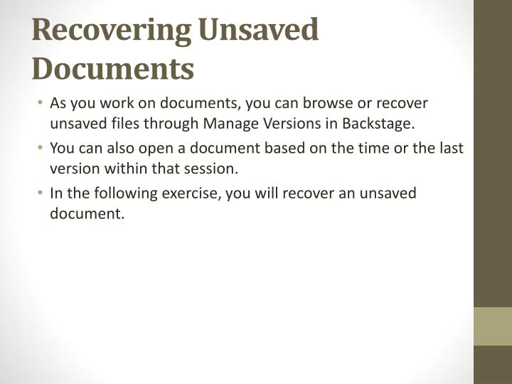 Recovering Unsaved Documents