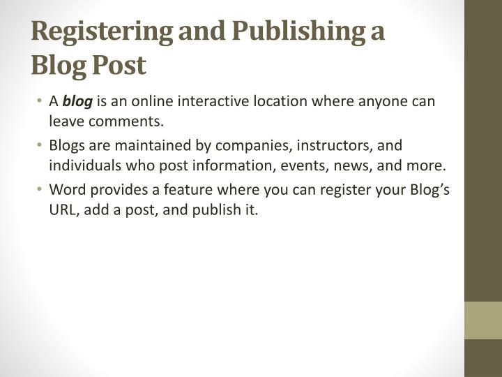 Registering and Publishing
