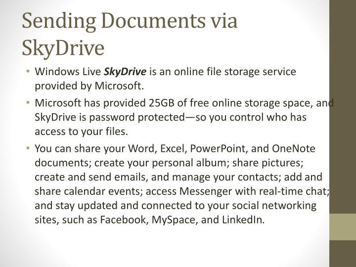 Sending Documents via SkyDrive