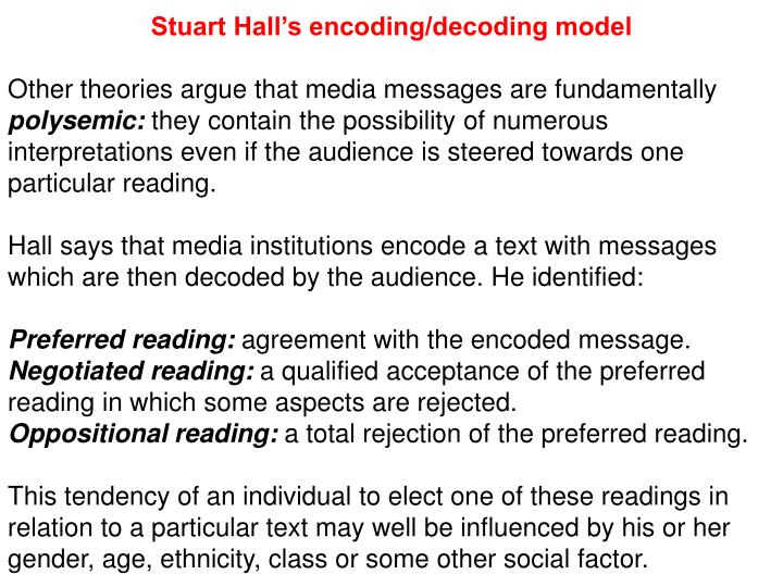 Stuart Hall's encoding/decoding model