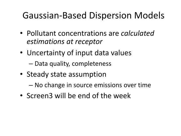 Gaussian-Based Dispersion Models