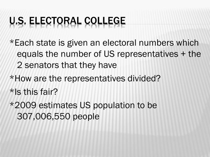 *Each state is given an electoral numbers which equals the number of US representatives + the 2 senators that they have