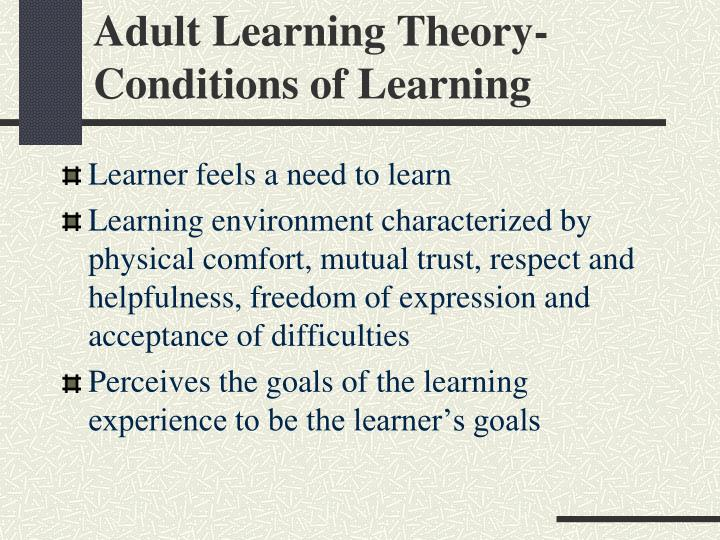 Adult Learning Theory-Conditions of Learning