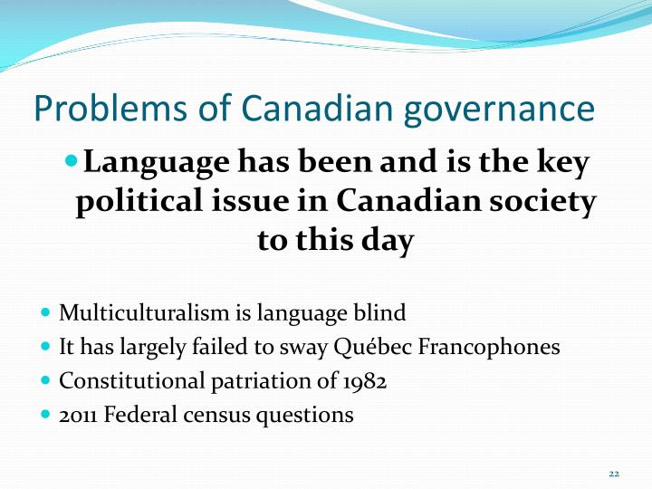 Problems of Canadian governance