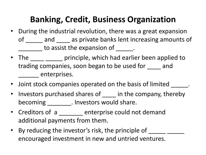 Banking, Credit, Business Organization