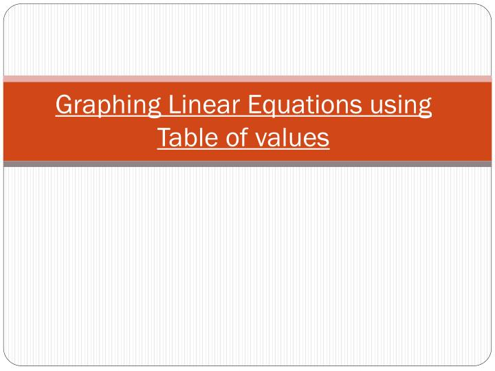 Graphing linear equations using table of values