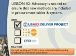 lesson 2 advocacy is needed to ensure that new methods are included in procurement tables systems