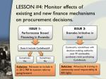 lesson 4 monitor effects of existing and new finance mechanisms on procurement decisions