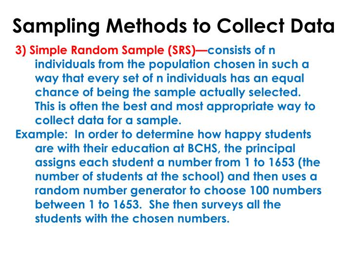 Sampling Methods to Collect Data