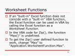 worksheet functions