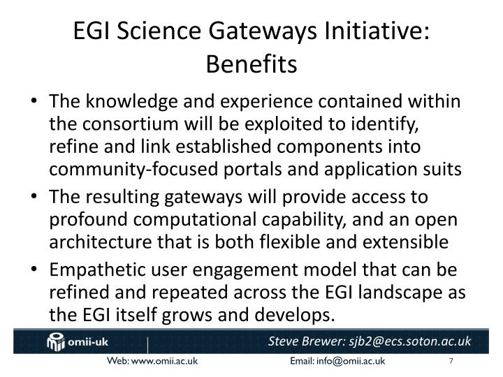 EGI Science Gateways Initiative: Benefits