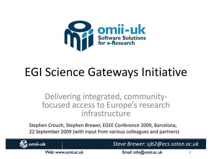 EGI Science Gateways Initiative