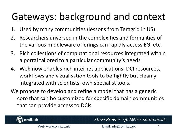Gateways: background and context