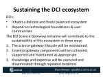sustaining the dci ecosystem