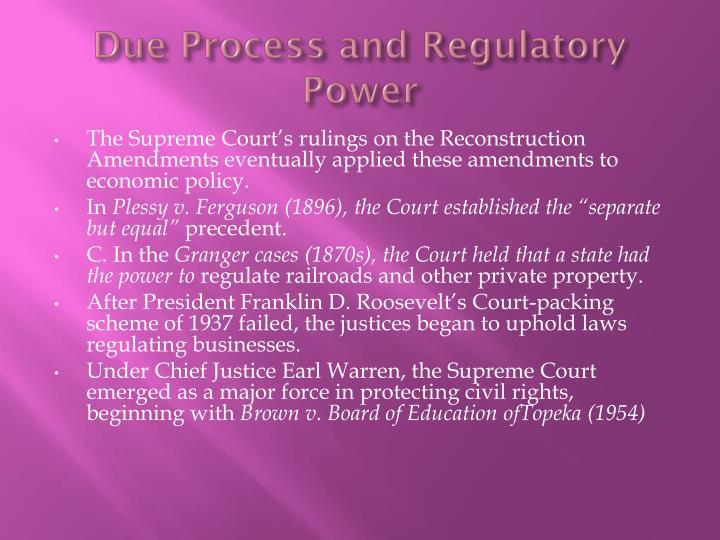 Due Process and Regulatory Power