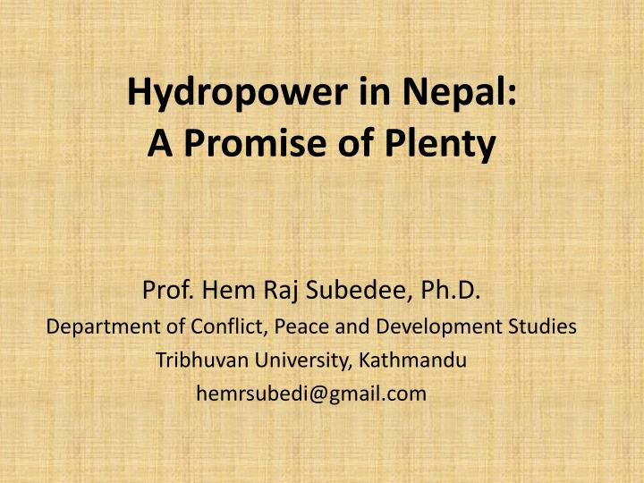 Hydropower in nepal a promise of plenty