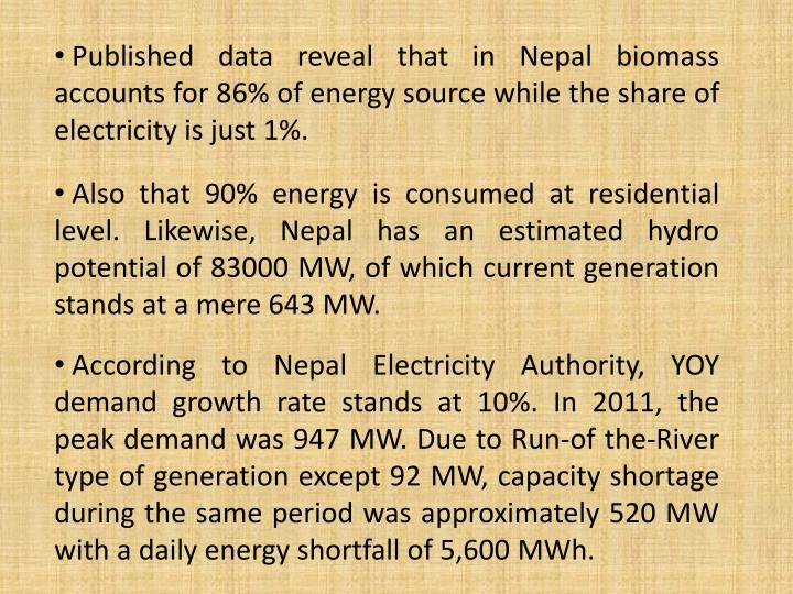 Published data reveal that in Nepal biomass accounts for 86% of energy source while the share of electricity is just 1%.