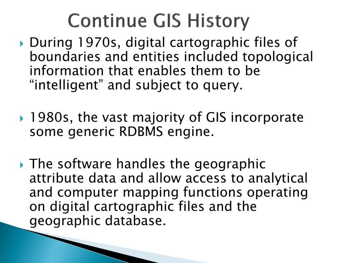 Continue GIS History