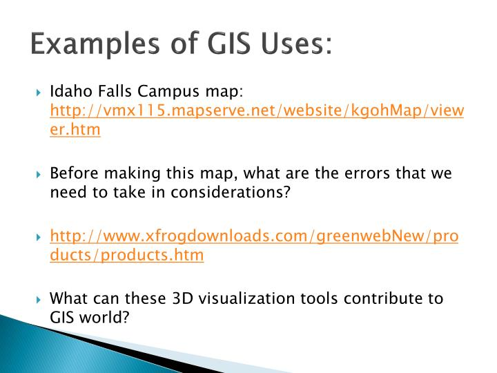 Examples of GIS Uses: