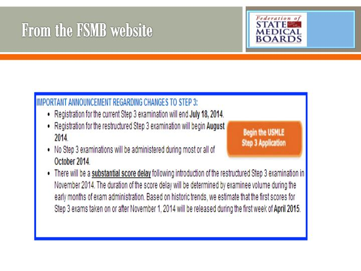 From the FSMB website