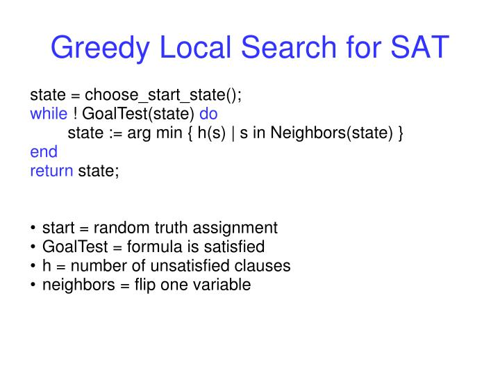 Greedy Local Search for SAT