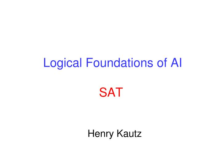 Logical foundations of ai sat